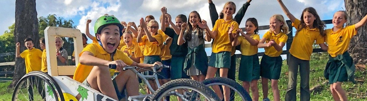 Bangalow Public School students prepare for the Bangalow Billycart Derby
